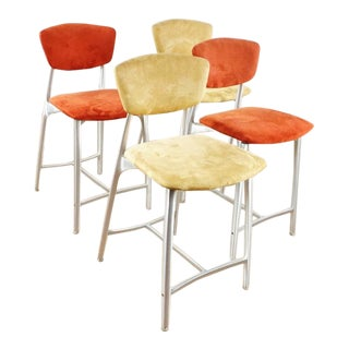 Contemporary Upholstered Bar Stool Height Chairs - Set of 4 For Sale