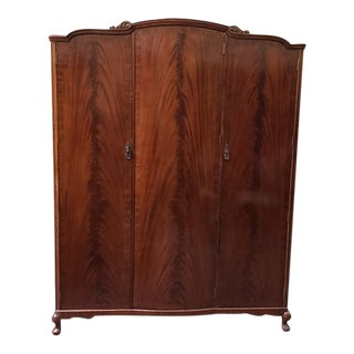 Flame Mahogany Triple Door Armoire C.1940s For Sale
