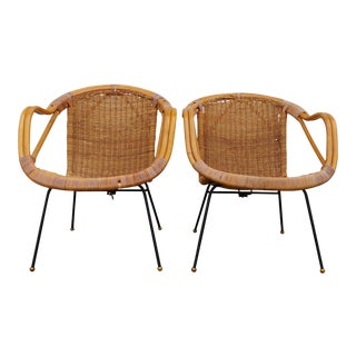 Vintage Calif-Asia Bamboo and Wicker Chairs - a Pair
