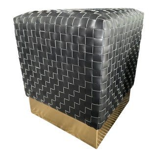 Woven Leather Ottoman With Brass Base For Sale