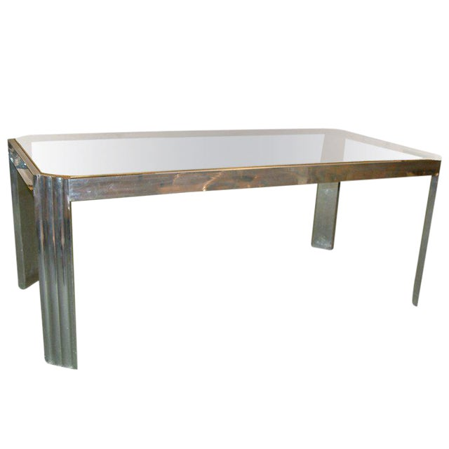 1970 Mid-Century Modern Italian Polished Aluminum and Glass Dining Table For Sale