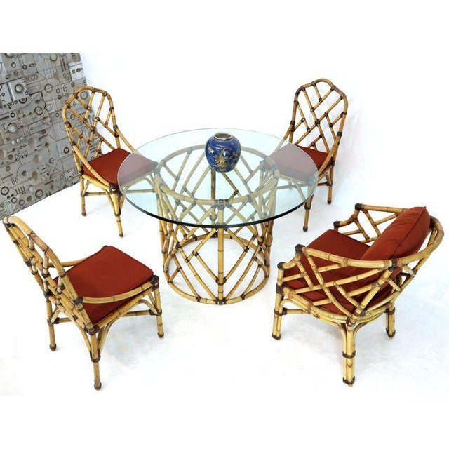 McGuire 7 Pieces Bamboo Dining Set Round Glass Top Table Two Arm Chairs Leather For Sale - Image 13 of 13