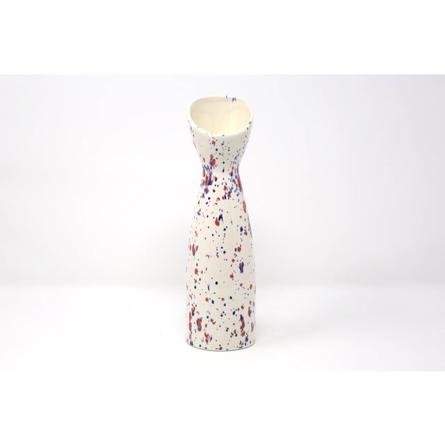 Contemporary Vintage Red Wing Pottery White, Blue and Red Speckle Vase For Sale - Image 3 of 9