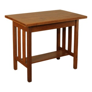Stickley Brothers Antique Mission Oak One Drawer Library Table For Sale