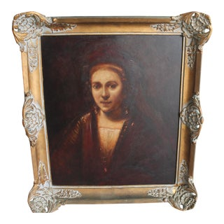 Louis XV Style Oil on Board Portrait Painting, 1920s For Sale