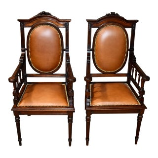 Antique Edwardian Style Carved Walnut Arm Chairs - a Pair For Sale