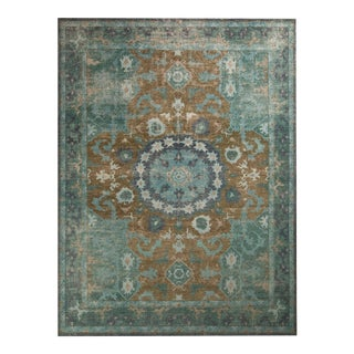 Rug & Kilim's Distressed Oriental Style Rug - Blue and Brown Medallion Pattern For Sale