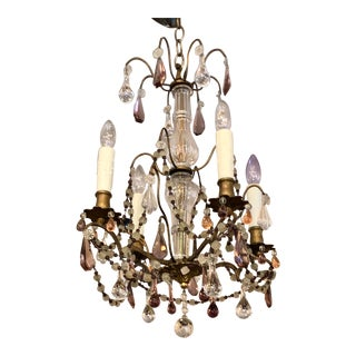 Antique Baccarat Crystal Chandelier W Murano Glass Beads For Sale