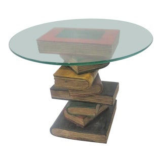 Glass Top Wood Carved Book Stack Side Table For Sale