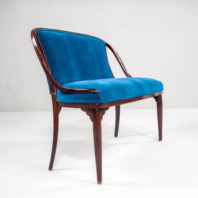 Wood Thonet Bentwood Settee With New Teal Blue Velvet Upholstery For Sale - Image 7 of 10