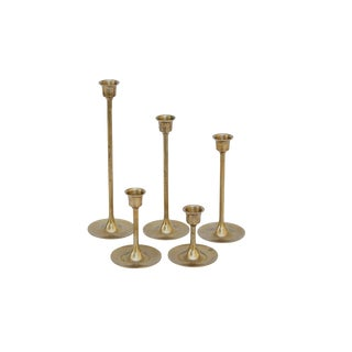 Vintage Graduating Brass Candlesticks - Set of 5 For Sale