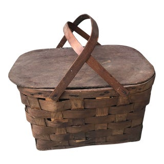 Picnic Basket With Bend Wood Handles and Hinged Lid Early Mid Century For Sale