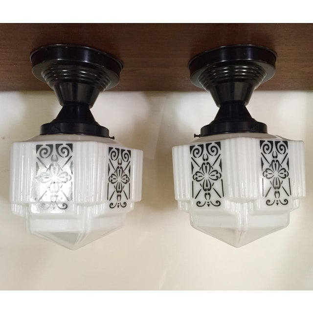 Art Deco Flush Mount Ceiling Fixtures - A Pair - Image 2 of 5