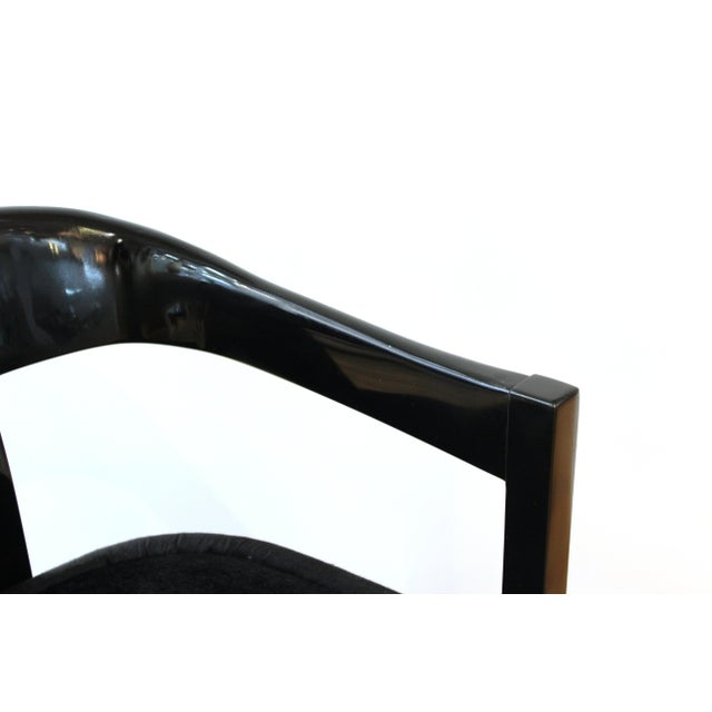 Karl Springer Karl Springer Modern 'Onassis' Black Lacquer Armchairs With Pony Hair Seats For Sale - Image 4 of 12