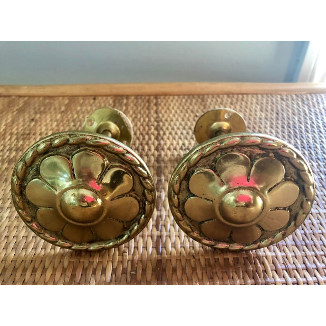 Mid 20th Century Brass Floral Curtain Tie Backs- a Pair For Sale - Image 5 of 5
