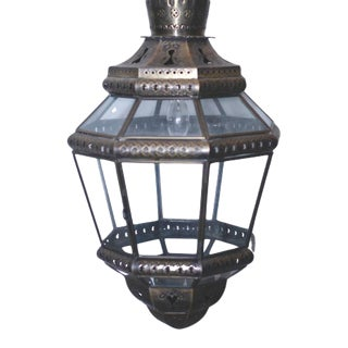 Moroccan Style Brass Lantern by Vaughan For Sale