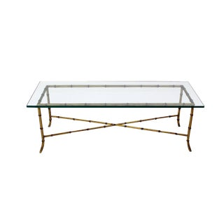 Mid Century Modern X Base Rectangular Gilt Faux Bamboo Glass Top Coffee Table For Sale