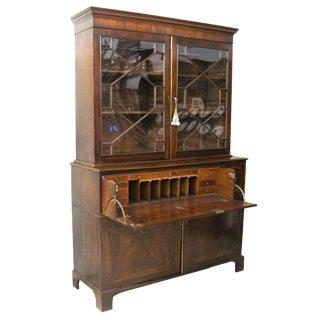 19th Century English Mahogany Secretaire/Bookcase For Sale