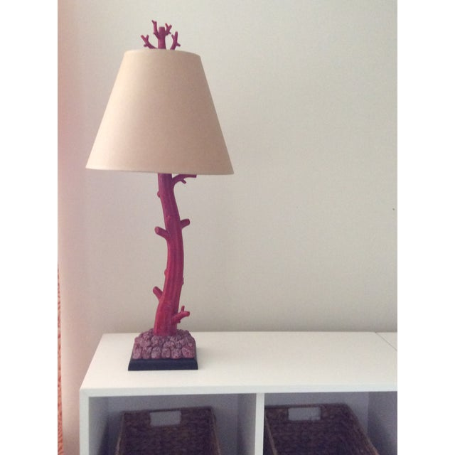 Figurative Arteriors Coral Lamp & Shade For Sale - Image 3 of 3