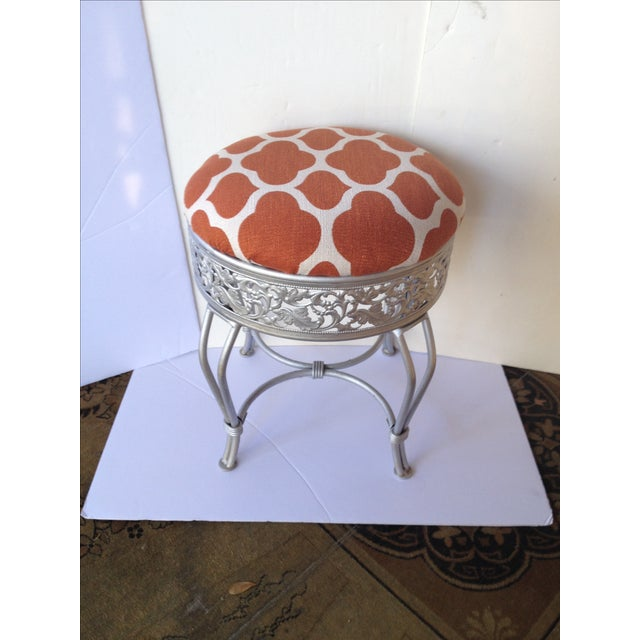1990s Pumpkin and Industrial Gray Vanity Stool For Sale - Image 5 of 5