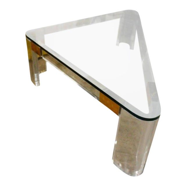 Charles Hollis Jones Lucite and Brass Triangle Coffee Table For Sale