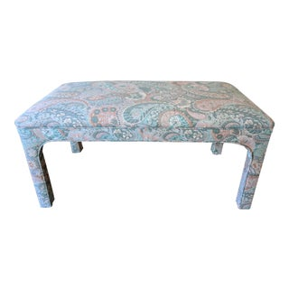 Vintage Custom Upholstered Pastel Paisley Parsons Bench For Sale