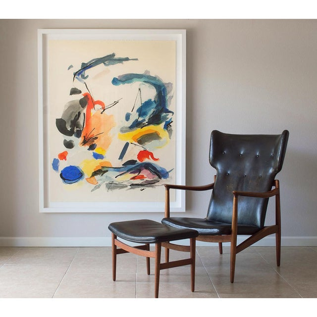 Abstract Mid-Century Modern Colorful Print With Primary Colors - Framed Giclée on Watercolor Paper For Sale - Image 3 of 4