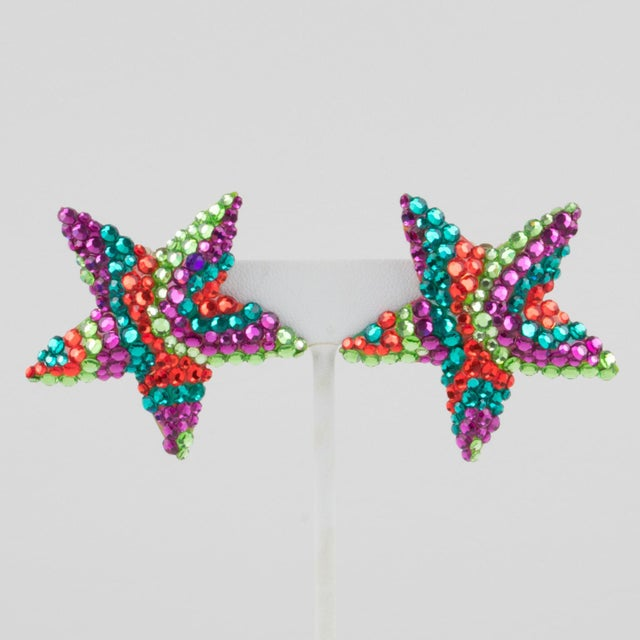 Resin Richard Kerr Multicolor Star Jeweled Clip Earrings For Sale - Image 7 of 7