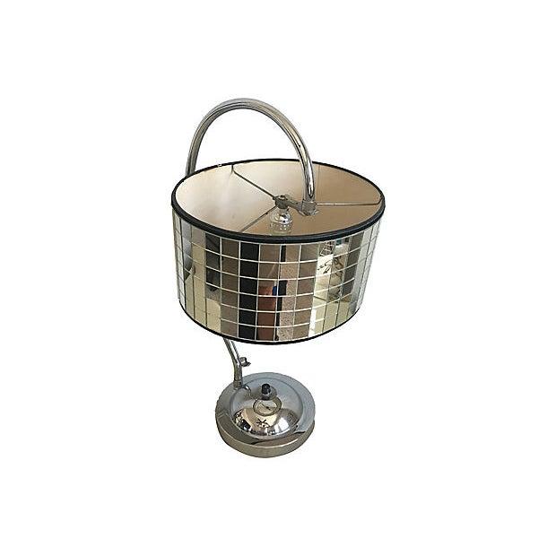 Metal Hollywood Regency Lamp & Shade For Sale - Image 7 of 10