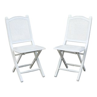 White Cane-Back Folding Chairs - a Pair For Sale