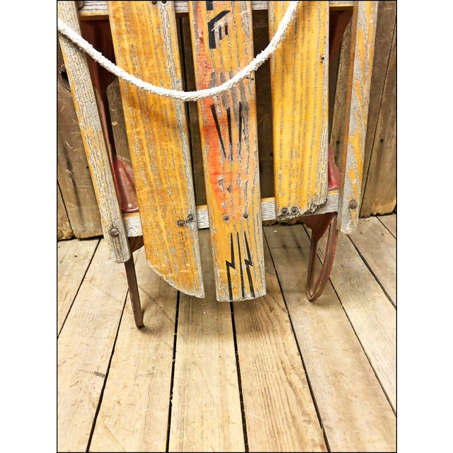 Vintage Weathered Wood & Metal Runner Sled -- Rocket Plane For Sale - Image 4 of 10