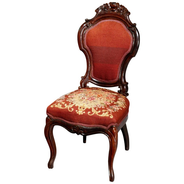 Mid 19th Century Antique Victorian Carved Walnut and Floral Needlepoint Parlor Chair For Sale