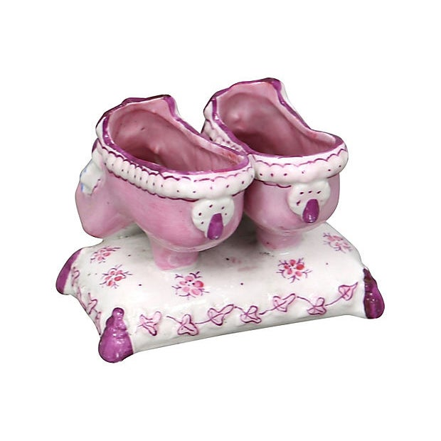 Antique hand-painted Paris porcelain ring holder/trinket dish in the form of a pair of pink shoes on a cushion. No maker's...