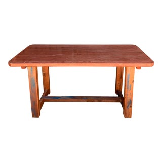 1960s Vintage Industrial Custom Made Wood Table For Sale