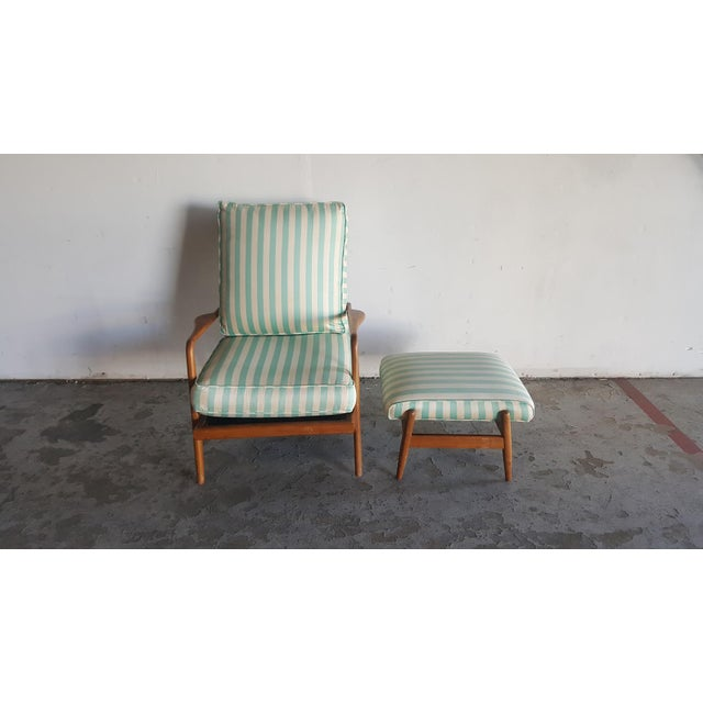 Solid Walnut Lounge Chair & Ottoman - Image 5 of 11
