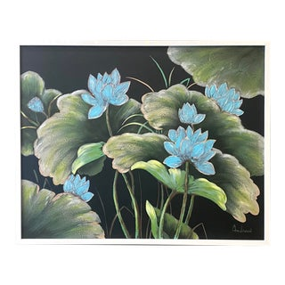 Contemporary Boho Chic Floral Painting Signed Andrew For Sale