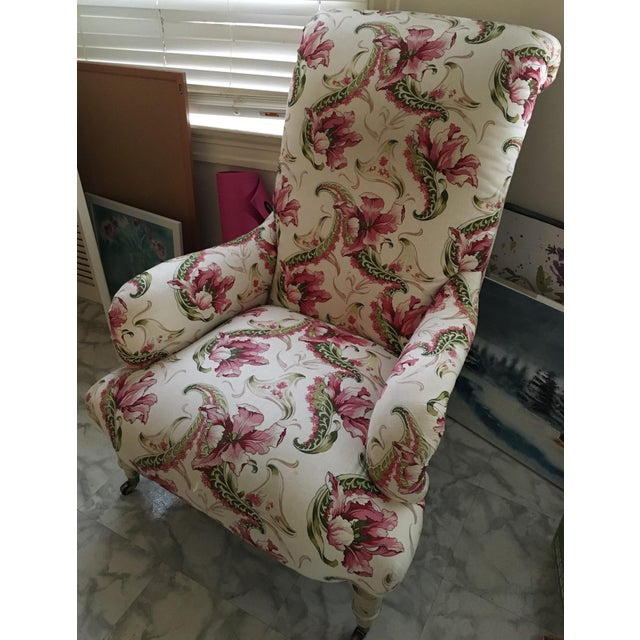 Floral Linen Armchair - Image 3 of 7