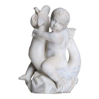 Carved Italian Rococo Revival Carrara Marble Niche Fountain For Sale