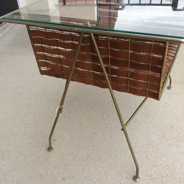 Mid Century Two Tier Wicker Ribbon Weave & Brass Glass Top Patio Table For Sale - Image 4 of 10