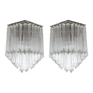 Ultra Chic Pair of Mid-Century Modernist Triedre Cut-Crystal Camer Sconces