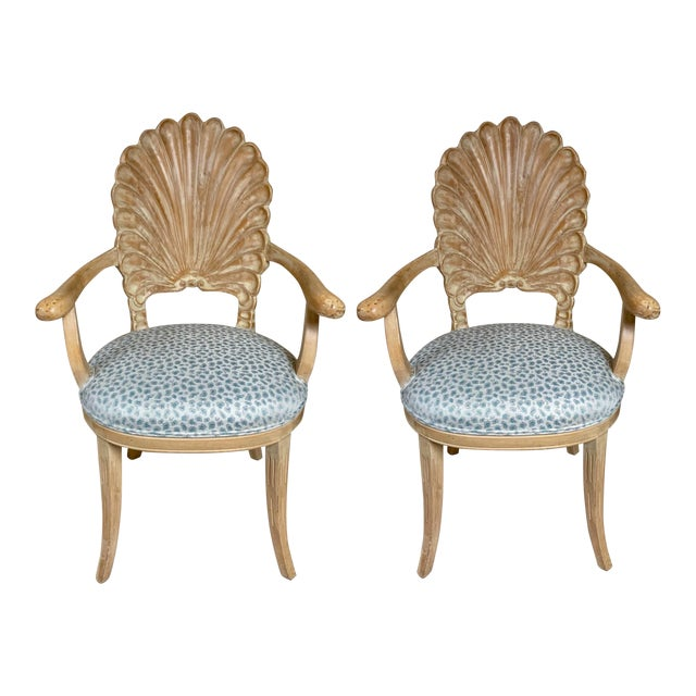 Pair of Shell Backed Chairs in Leopard Upholstery For Sale