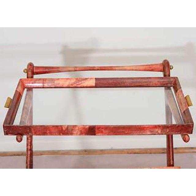 Aldo Tura Mid-century Rose-tone Goatskin Bar Cart by Aldo Tura For Sale - Image 4 of 5