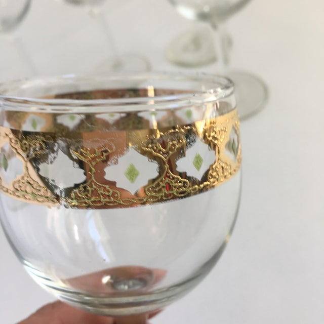 1960s Culver Valencia Gold and Green Wine Glasses Vintage Barware - Set of 6 For Sale - Image 5 of 6