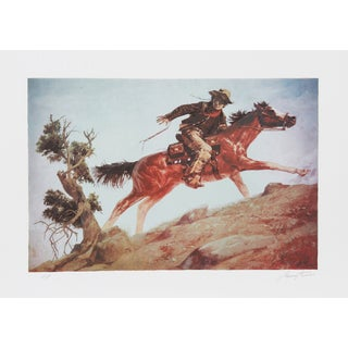 "Shannon Stirnweis, ""Cowboy and Horse,"" Lithograph"