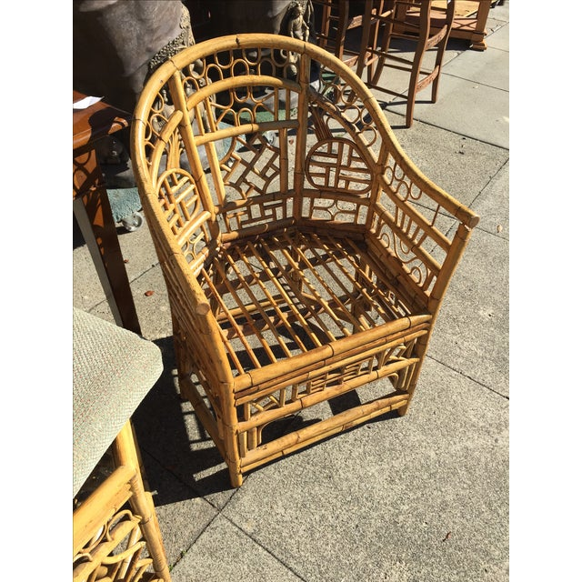 4 Chinese Chippendale Bamboo Chairs and Small Table For Sale - Image 5 of 8