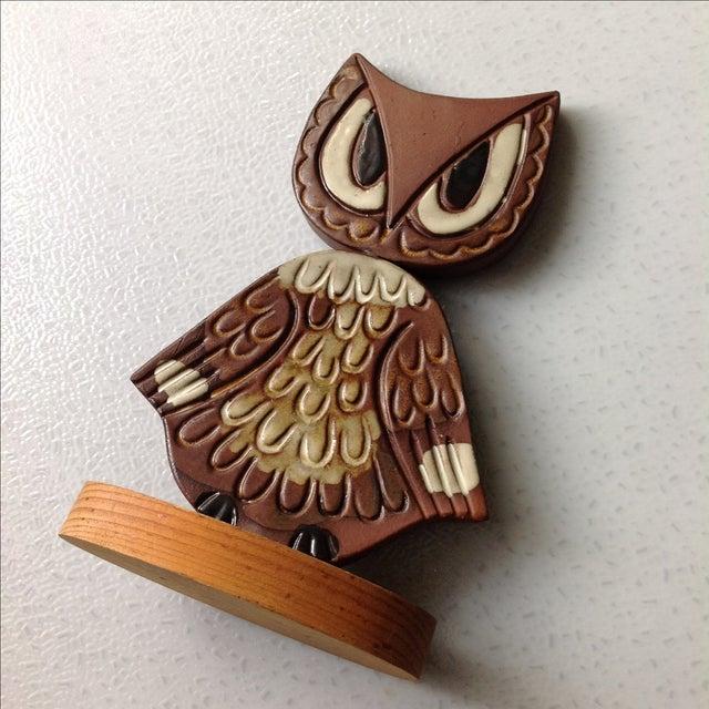 Mid-Century Modern Studio Pottery Owl Sculpture - Image 7 of 9