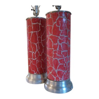 1940s Vintage Bouck Red & White Crackle Column Lamps - A Pair