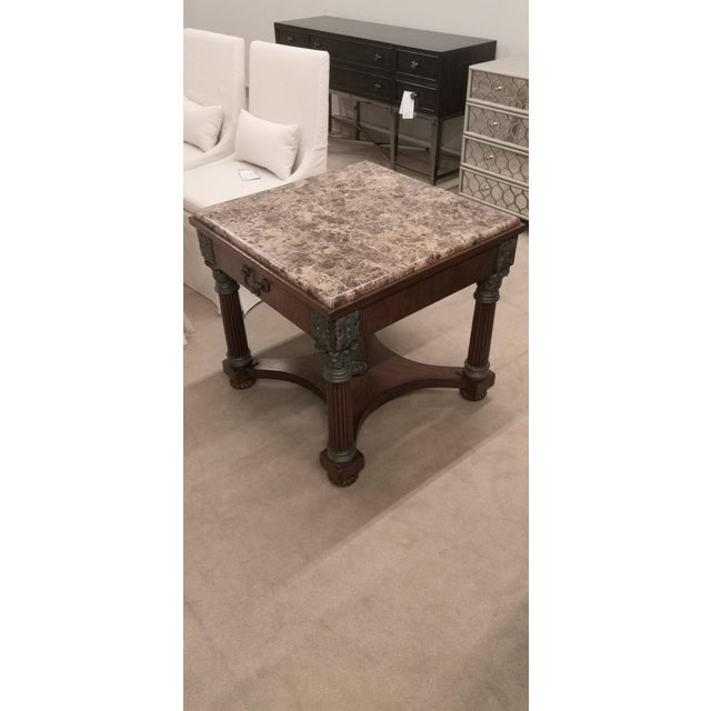 Drexel Heritage Empire Drexel Heritage Marble Top Solid Wood Square Side Table For Sale - Image 4 of 12