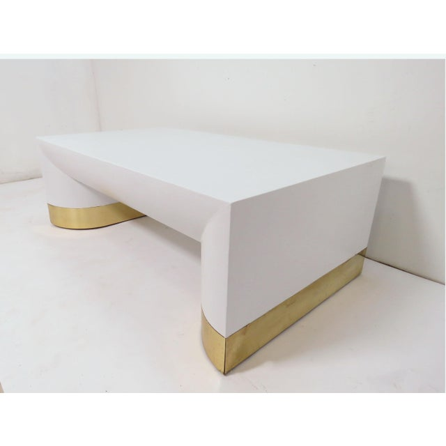 Mid-Century Modern Lacquered Linen Jay Spectre for Century Furniture Coffee Table, Circa 1970s For Sale - Image 3 of 11
