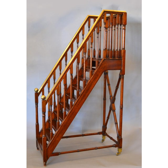 Traditional architectural Decorative in Walnut and Brass Library Steps, Ladder or Stairs. A very delicate quality handmade...